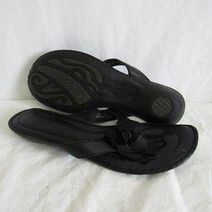 Born Black Leather Flip Flop Sandal Women's 10